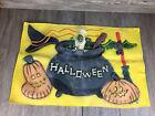 VTG Halloween Sign Raised Rubber  Rare Unique Ghost Jack-O-Lantern Cauldron