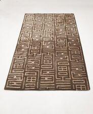 INDIAN HAND TUFTED, MODERN, GEOMETRIC RUG, 2.44 x 1.52M, BEIGE & KHAKI GREEN