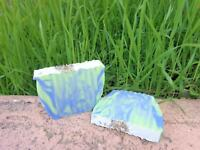 FRESH CUT GRASS SCENTED SOAP HANDMADE LYE SOAP BARS TOPPED WITH LAVENDER