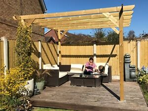 3.6m wide x 2.4m deep x 2.4m timber wooden garden gazebo pergola