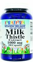 200 Capsules 1000mg Milk Thistle Seed Extract Natural Liver Support Pill VB
