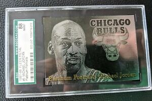 1997 FLEER METAL PLATINUM PORTRAITS #5 MICHAEL JORDAN LABEL ERROR SGC 88 1 of 1