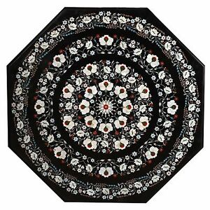 """36"""" Marble Coffee Table Top Pietra Dura Inlay Work Home Decor And Garden Gifts"""
