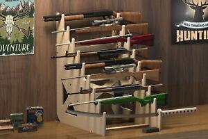 Rifle Rack 9-Slot Gun Shotgun Sword Display Stand CNC Table Top Gunrack USA