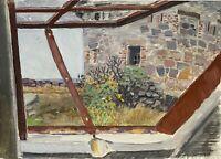 Karl Adser 1912-1995 Öl Blick aus dem Fenster aufs Meer Frederiksø Dänemark 1971