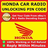 HONDA RADIO UNLOCK PIN CODE DECODE CIVIC CRV HRV JAZZ ACCORD INSIGHT FAST
