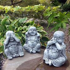 Steinfigur 3 er Set Buddha Shaolin Mönche nichts hören sagen sehen Steinguss 002
