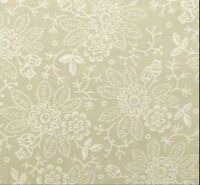 Tone on Tone Flower Floral White/Natural Blender Calico Cotton Fabric 1 YARD