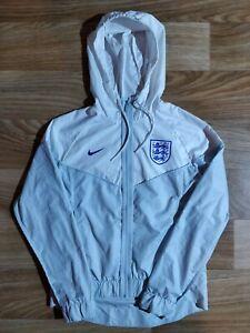 Nike England Team Hoodie Tracksuit Jacket Hooded Windbreaker Zip White Gray UK
