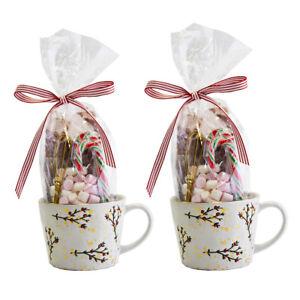 Luxury Hot Chocolate Mug Set of 2 - White Holly Mugs