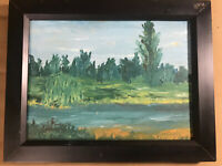 "Impressionist ""River And Landscape Scene"" Oil On Canvas Board Painting - Framed"