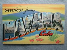 Greetings From Havana, Cuba Large Letter Postcard 1946