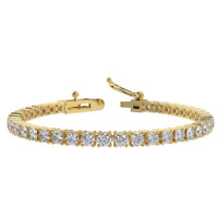 Special offer... 5.00ct Round Diamond Tennis Bracelet,Hallmarked , Yellow Gold
