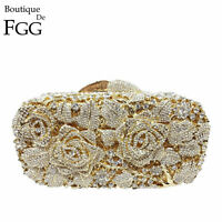 Flower Women Crystal Clutches Evening Bags Wedding Bag Floral Minaudiere Handbag