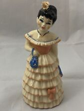 "Vintage Ceramic ""Lady"" Bell , Hand Painted, Fancy Ruffled Dress, Purse & Fan"