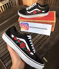 *ANY SIZE* CUSTOM EMBROIDERED ROSE/FLORAL PATCH VANS OLD SKOOL-MEN'S SIZES