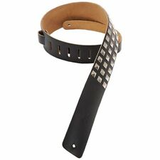 Leather Guitar/Bass Strap with Studs-Black