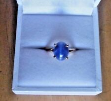 Vintage 14K Yellow Gold LINDY Blue Star 3.2 Ct Sapphire Ring Size 5.5