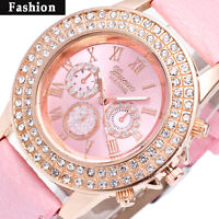 Women Bracelet Stainless Steel Crystal Diamonds Dial Analog Quartz Wrist Watches