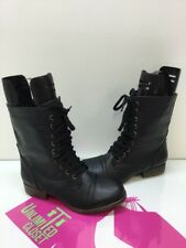 Madden Girl 'Trixie' Black Synthetic Leather Combat Lace Up Mid Calf Boot Size 7