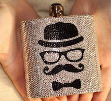 $3495 Judith Leiber Moustache Flask Bag FACELESS MAN HANDLEBAR BOWLER HAT BLACK