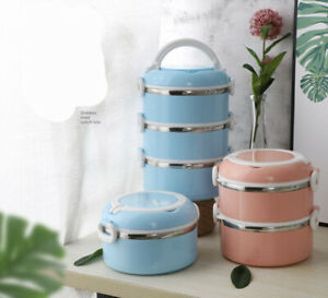 Multiple Layered Stainless Steel Insulated Bento Lunch Box Container Leak Proof