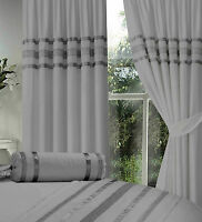 "GREY / SILVER RIBBON 66"" X 72"" EGYPTIAN COTTON LINED PENCIL PLEAT CURTAINS"