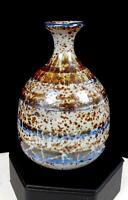 """ESTHER TOROSIAN FULLER ART POTTERY BLUE AND BROWN SLIP 4 1/2"""" BOTTLE VASE 1954"""