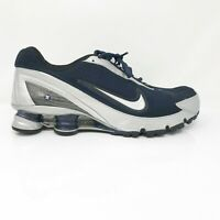 Nike Mens Shox 315378-402 Navy Silver Running Shoes Lace Up Low Top Size 11.5