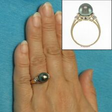 14k Yellow Gold Genuine Black Tahitian Pearl Solitaire with Accents Ring TPJ