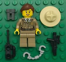 Lego Female Police Minifig Lot: Girl Forest Officer dark tan jacket campaign hat