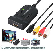 Male AV CVBS S-Video to HDMI Converter Composite 3RCA to HDMI Adapter 1080P