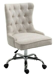 Linen Fabric Upholstered Tufted Home Office Chair with Studs-Beige