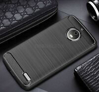 For Motorola Moto E4 Carbon Fibre Gel Case Cover Ultra Slim  Shockproof