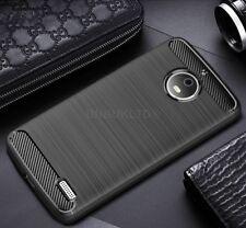 For Motorola Moto E4 Plus Carbon Fibre Gel Case Cover Brushed Shockproof Hybrid