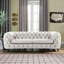 Modern Club Frame Sofa Real Leather Match Tufted Chesterfield Couch, Ivory