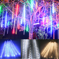 144LED Meteor Shower Rain Falling Lamp Icicle Tube String Fairy Light Xmas Party