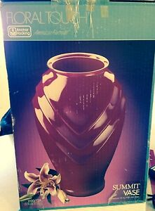 SUMMIT VASE - 16 INCHES BY ANCHOR HOCKING - MAROON - FLORAL TOUCH
