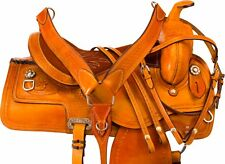 17 18 WESTERN RANCH WORK ROPING ROPER TRAIL LEATHER HORSE SADDLE TACK SET