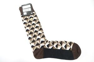 ALFANI ALFATECH TRIANGLE GEO BROWN SEAMLESS COMFORT TOE 1 PAIR CASUAL SOCKS NWT