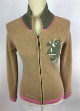 Tommy Hilfiger Womens S Wool Angora Pink Tan Dragon Ls Zip Up Sweater