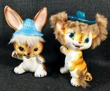 Ucagco porcelain tufted cat and rabbit