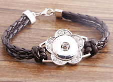 Handmade DIY rhinestone nosa coffee lether bracelet fit chunk snap button j3449