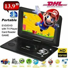 "13.9"" HD Auto Tragbarer DVD CD Player Game Video Bildschirm USB SD AUX MMC AKKU"