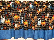 Nw valance CHICKEN COOP brown blue black ROOSTERs LINED