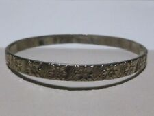 ESTATE WOMENS STERLING SILVER ART NOUVEAU DECO EUROPEAN BANGLE BRACELET SIGNED