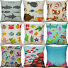 "18"" Cartoon Fish Print Cotton Linen Pillow Case  Cushion Cover Sofa Home Decor"