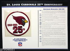 ST LOUIS CARDINALS ~ 25th ANNIVERSARY NFL TEAM PATCH Willabee & Ward WORN 1984