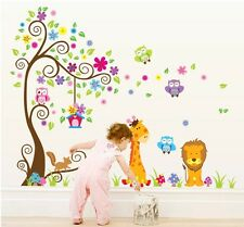 ANIMAL GUFI Leoni Giraffe Scroll Tree Bambini Muro Adesivo decalcomania Home Decor Art