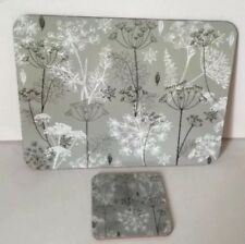 Grey Contemporary Floral Placemats & Coasters Cork Backed Set of 6